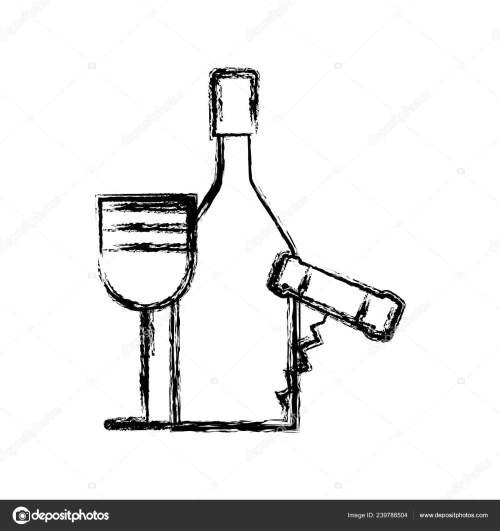 small resolution of contour wine bottle and glass with corkscrew vector illustration design vector by