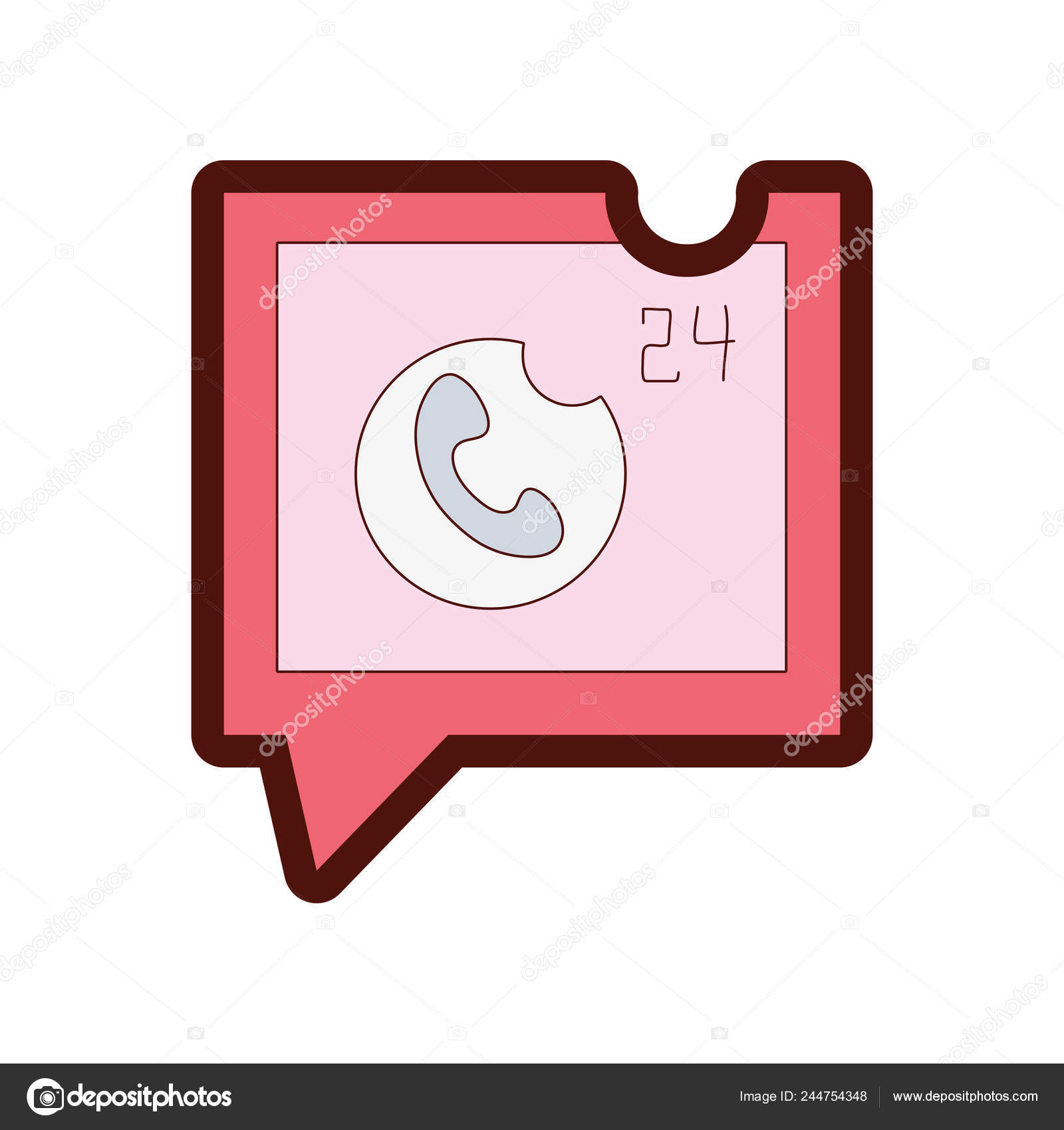 hight resolution of line color phone lost call sign square chat bubble vector stock vector