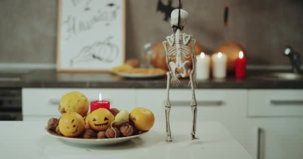 kitchen candles christmas towels halloween decorations on the pumpkins a very funny dacing skeleton