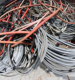 many used electrical cables high voltage wires container stock photo [ 1233 x 1700 Pixel ]