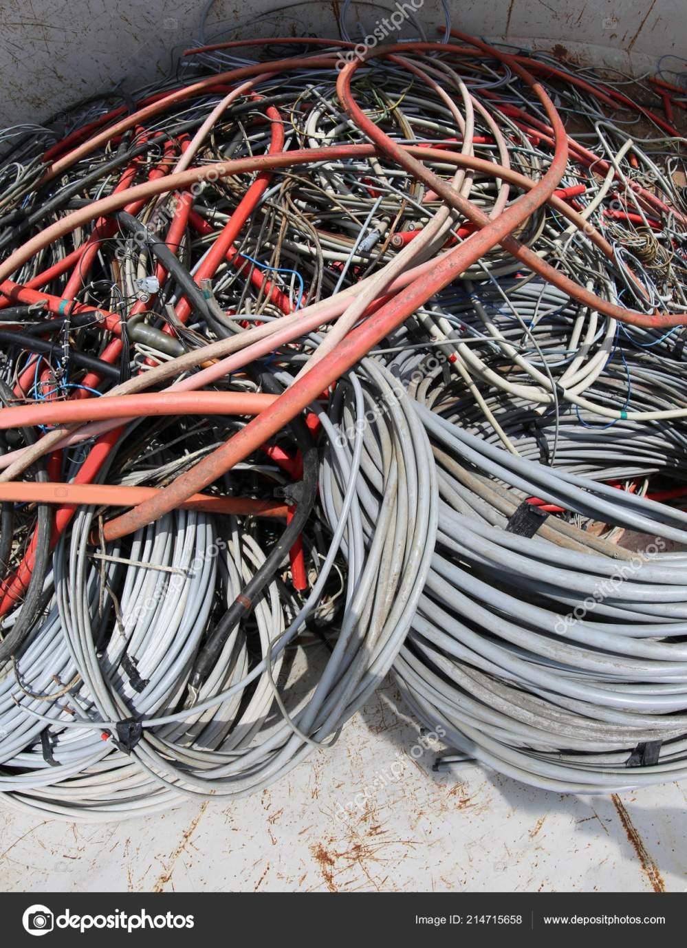 medium resolution of many used electrical cables high voltage wires container stock photo