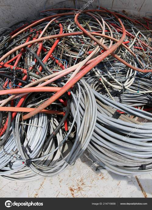 small resolution of many used electrical cables high voltage wires container stock photo