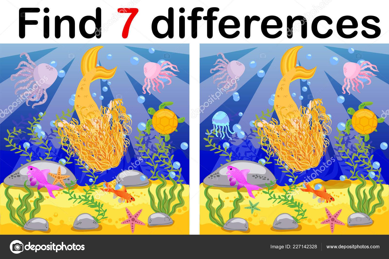 Find Differences Game Children Mermaid Underwater Cartoon