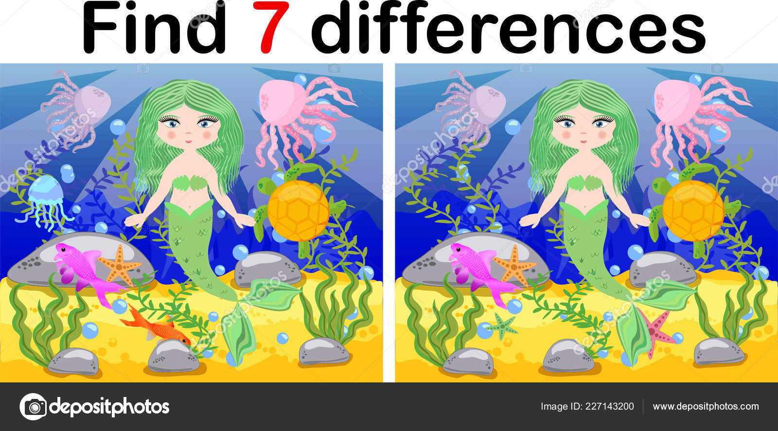 Find Differences Game Children Mermaid Underwater Cartoon