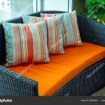 Huge Blue Sofa Bed Colorful Pillows Stock Photo C Appstock 200060644