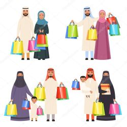 ✅ Arab family shopping Muslim happy people male female and kids in market with bags vector cartoon characters isolated Illustration of saudi people family shopping arabian traditional buyer premium vector in Adobe