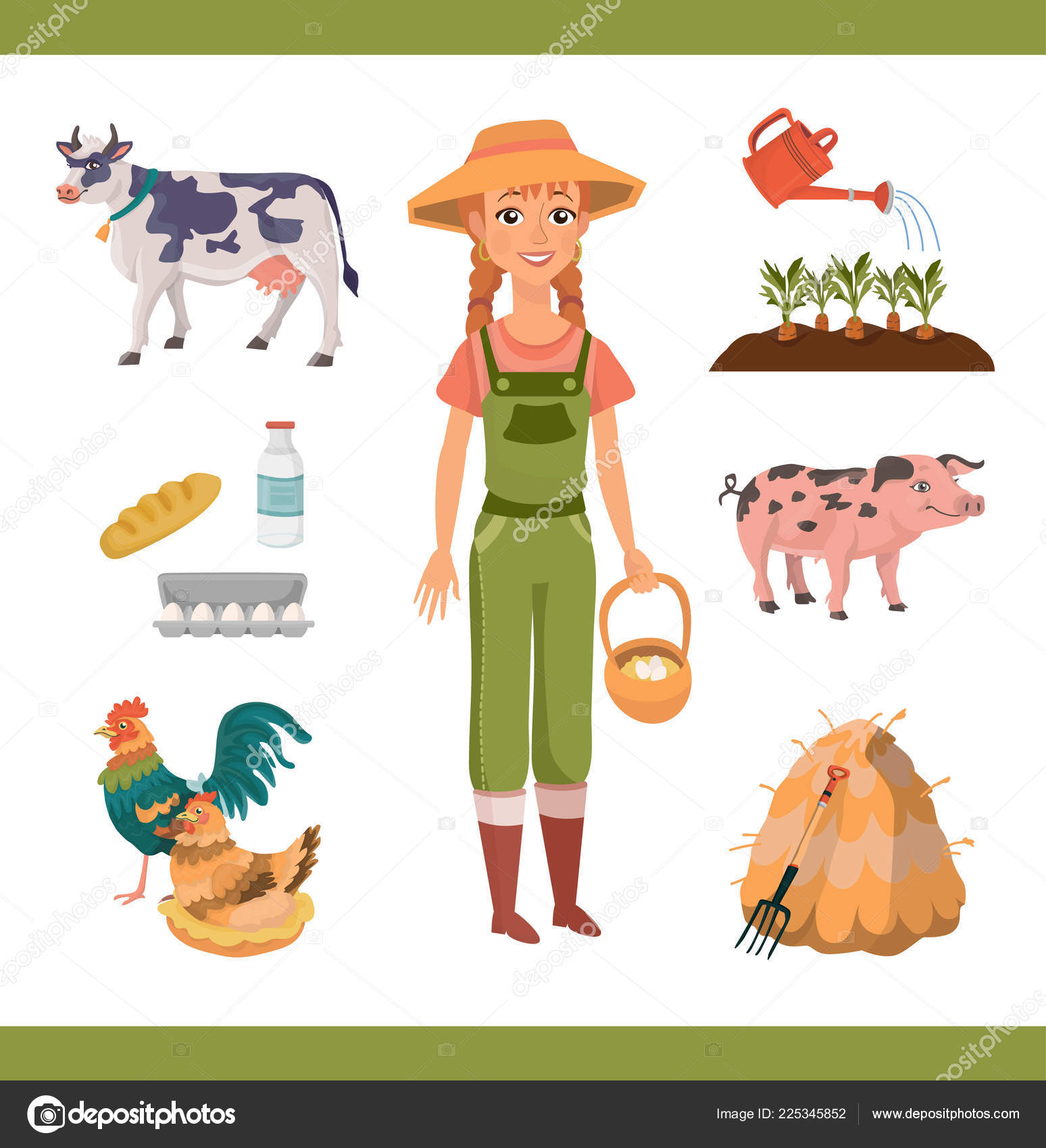 hight resolution of cartoon farm clipart collection cheerful ginger woman braids farm worker stock vector
