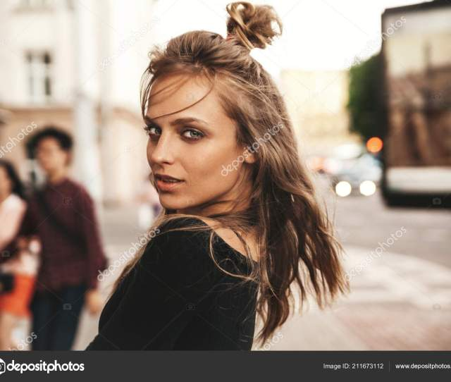 Portrait Beautiful Cute Blond Teenager Model Makeup Summer Hipster Clothes Stock Photo