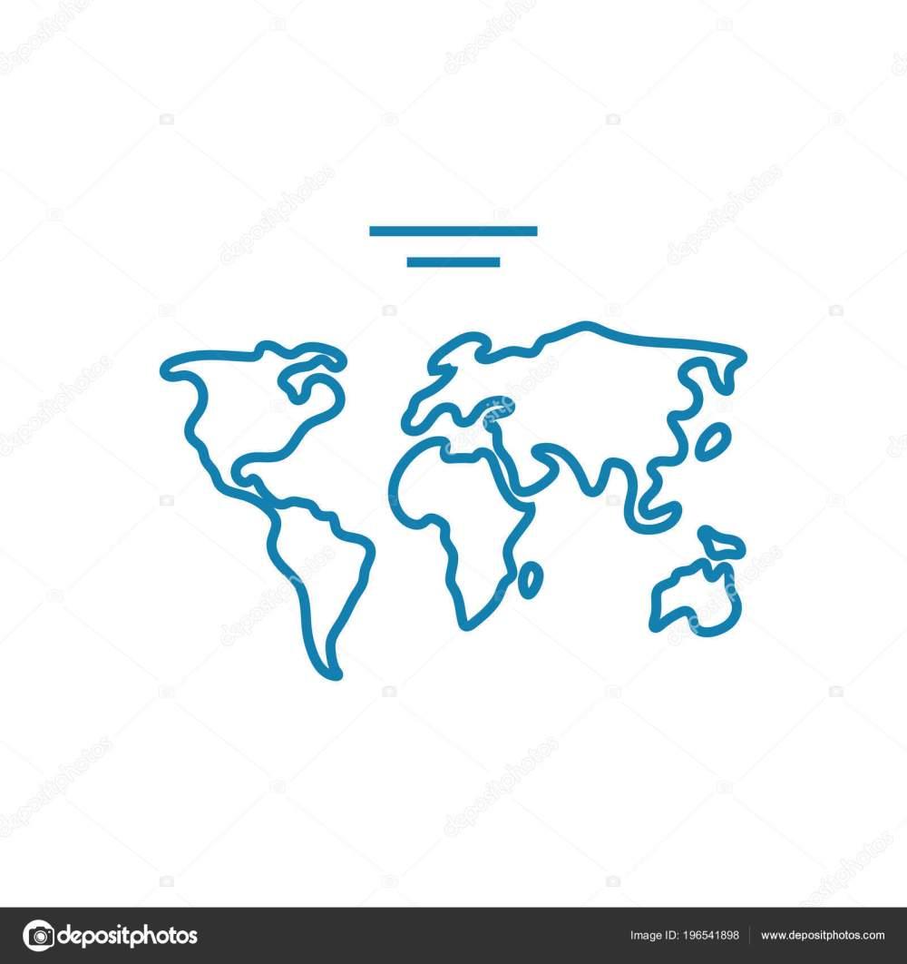 medium resolution of world map linear icon concept world map line vector sign symbol illustration