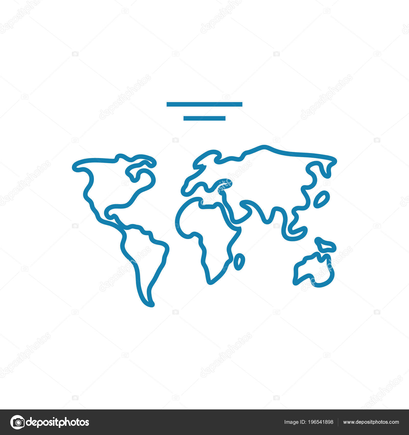 hight resolution of world map linear icon concept world map line vector sign symbol illustration