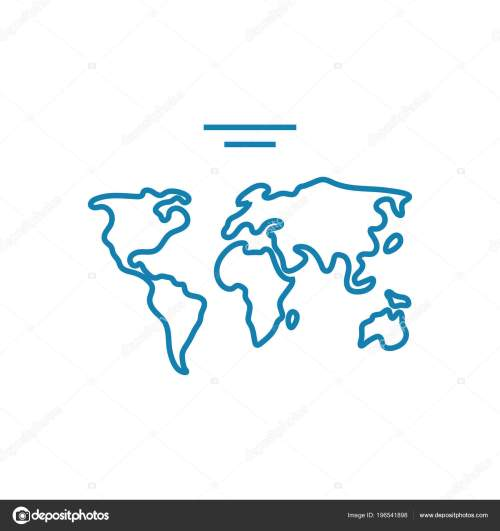 small resolution of world map linear icon concept world map line vector sign symbol illustration