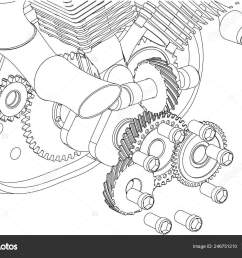 disassembled motorcycle engine on a white background drawing vector by volodya nikiforov 97 mail ru  [ 1600 x 1123 Pixel ]