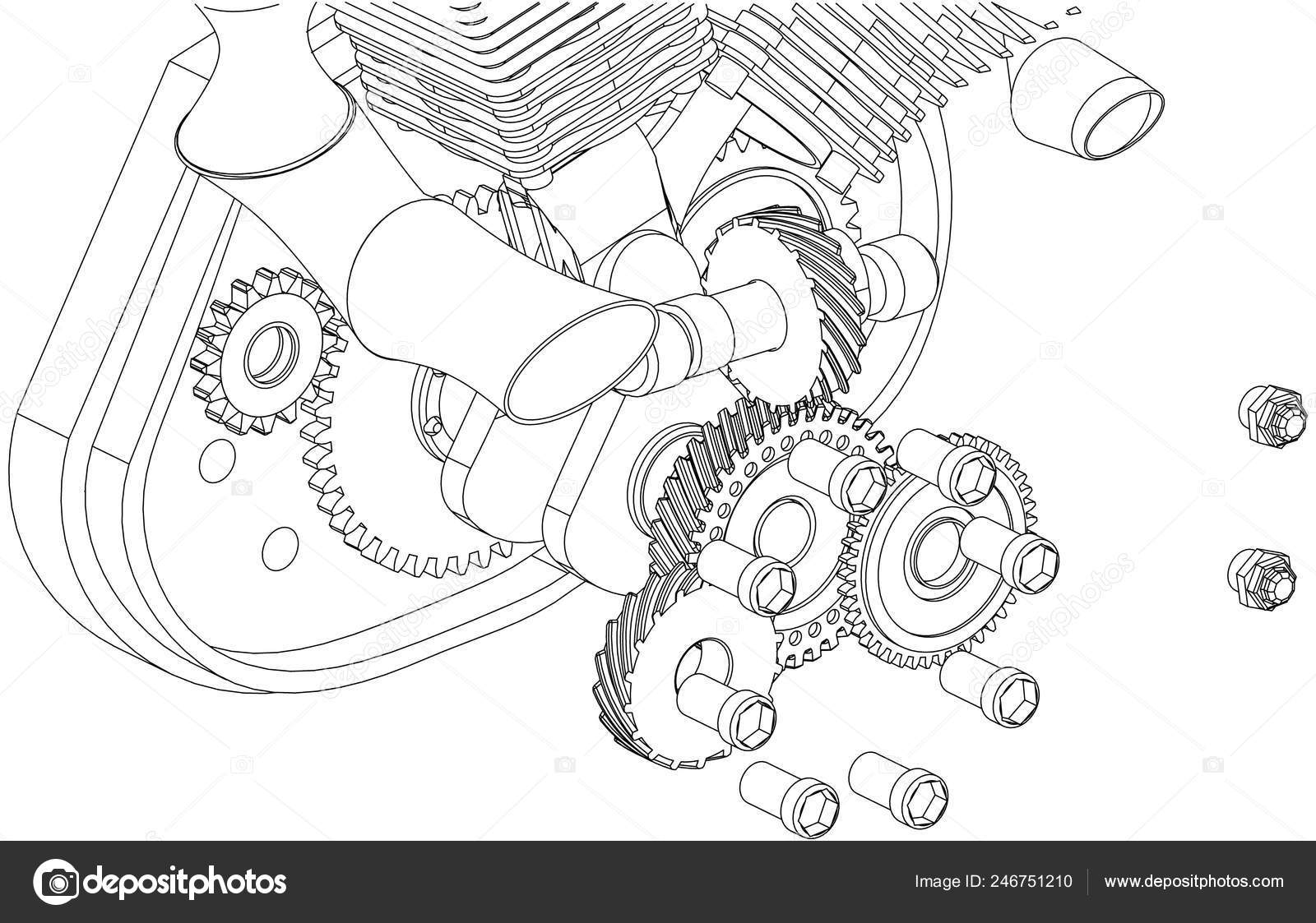 hight resolution of disassembled motorcycle engine on a white background drawing vector by volodya nikiforov 97 mail ru