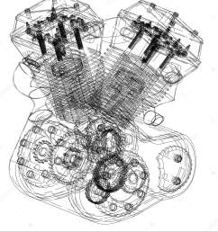 motorcycle engine on a white stock vector [ 1409 x 1700 Pixel ]