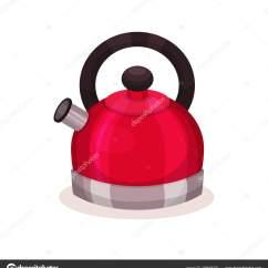 Home And Kitchen Stores Sink Rug 带褐色手柄的钢制明亮红色水壶图标 厨房用具 家用商店横幅或海报的平面 图标的钢明亮的红色水壶与棕色塑料手柄 彩色图形元素的横幅或海报的家庭商店 在白色背景上隔离的平面矢量图