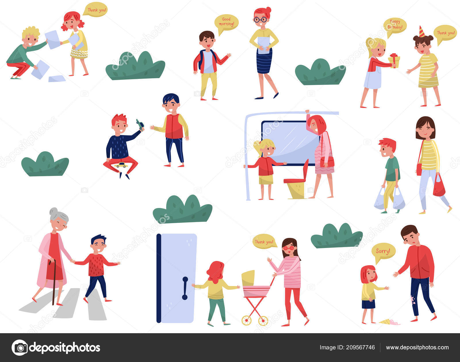 Flat Vector Set Of Polite Children In Different Situations