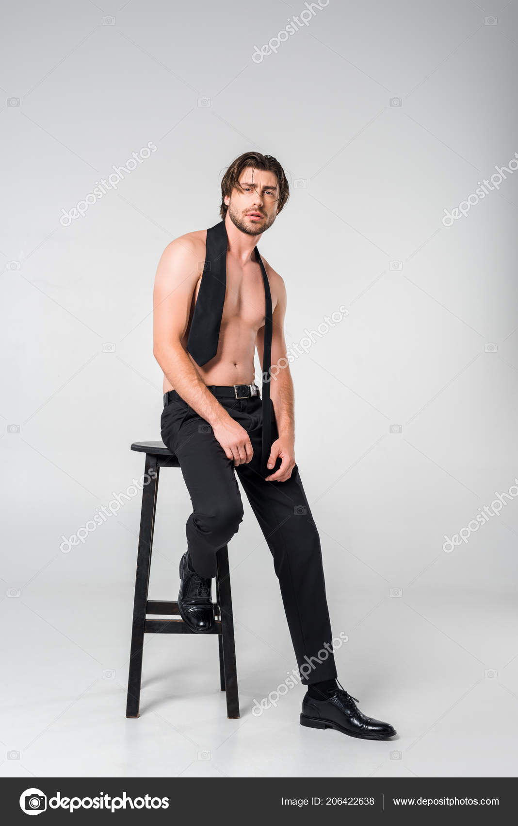 Chair Pants Shirtless Man Black Pants Tie Sitting Chair Grey Background