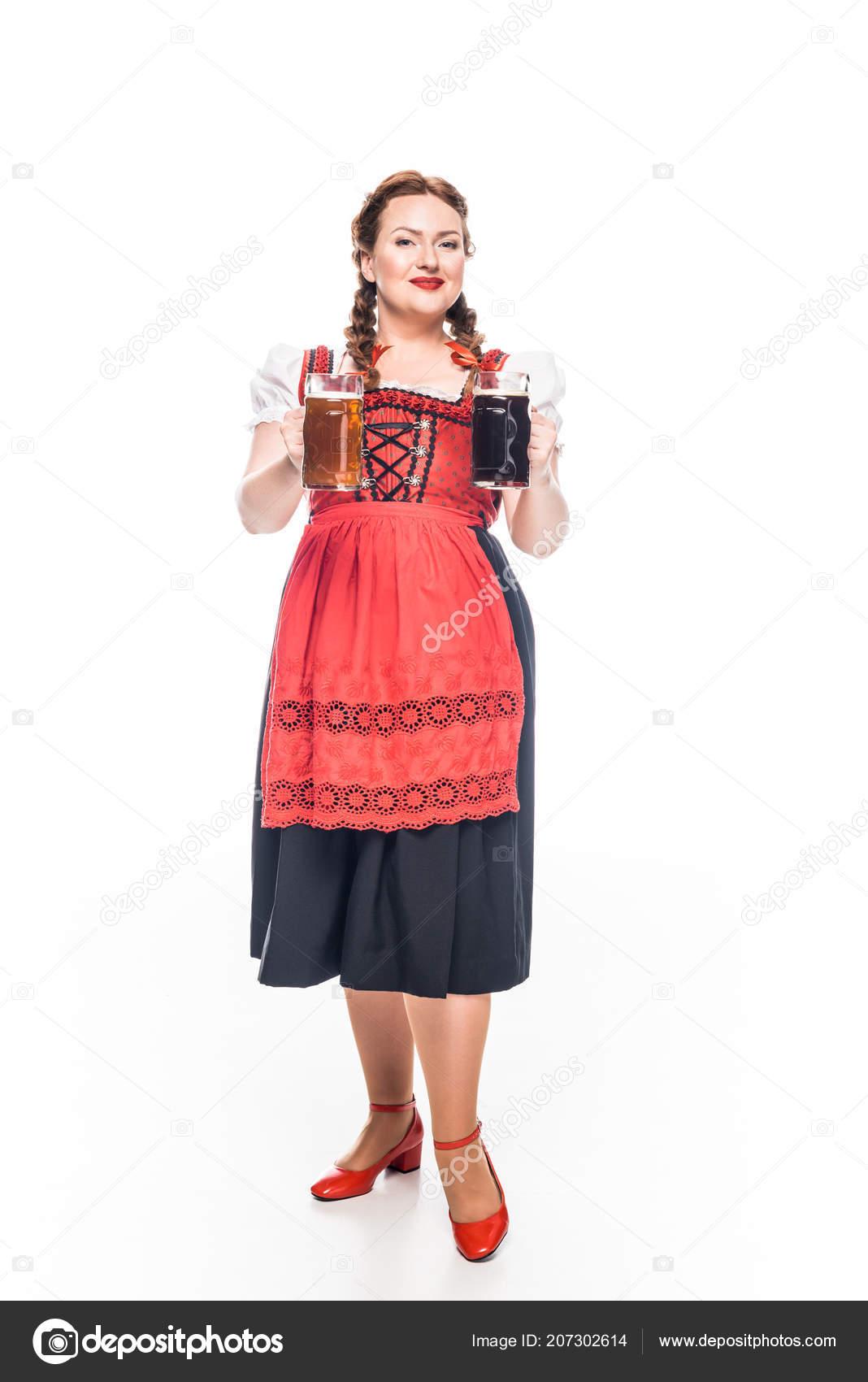 attractive oktoberfest waitress traditional