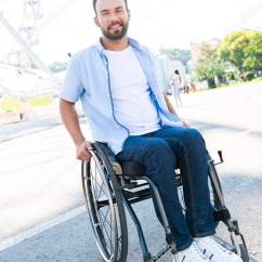 Wheelchair Man Charles Rennie Mackintosh Willow Chair Smiling Handsome Using Street Looking Camera Stock Photo