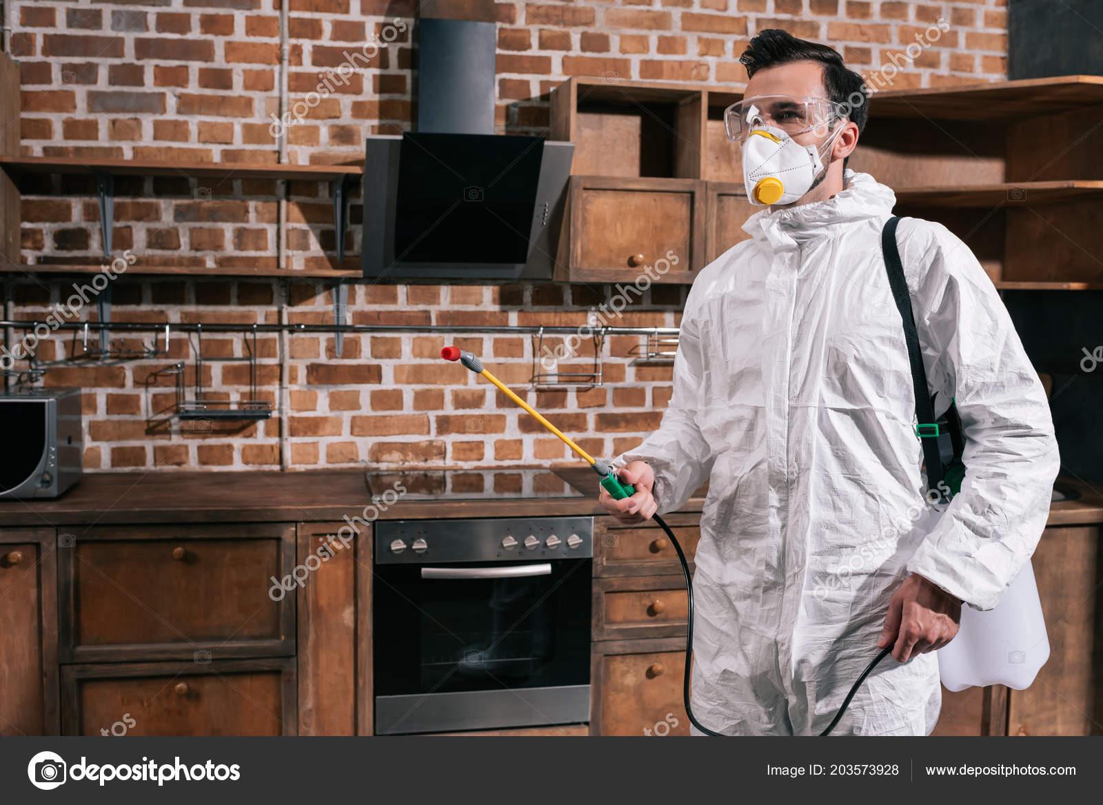 kitchen side sprayer brass pulls 厨房害虫防虫站与喷雾器的侧面观 图库照片 c edzbarzhyvetsky 203573928
