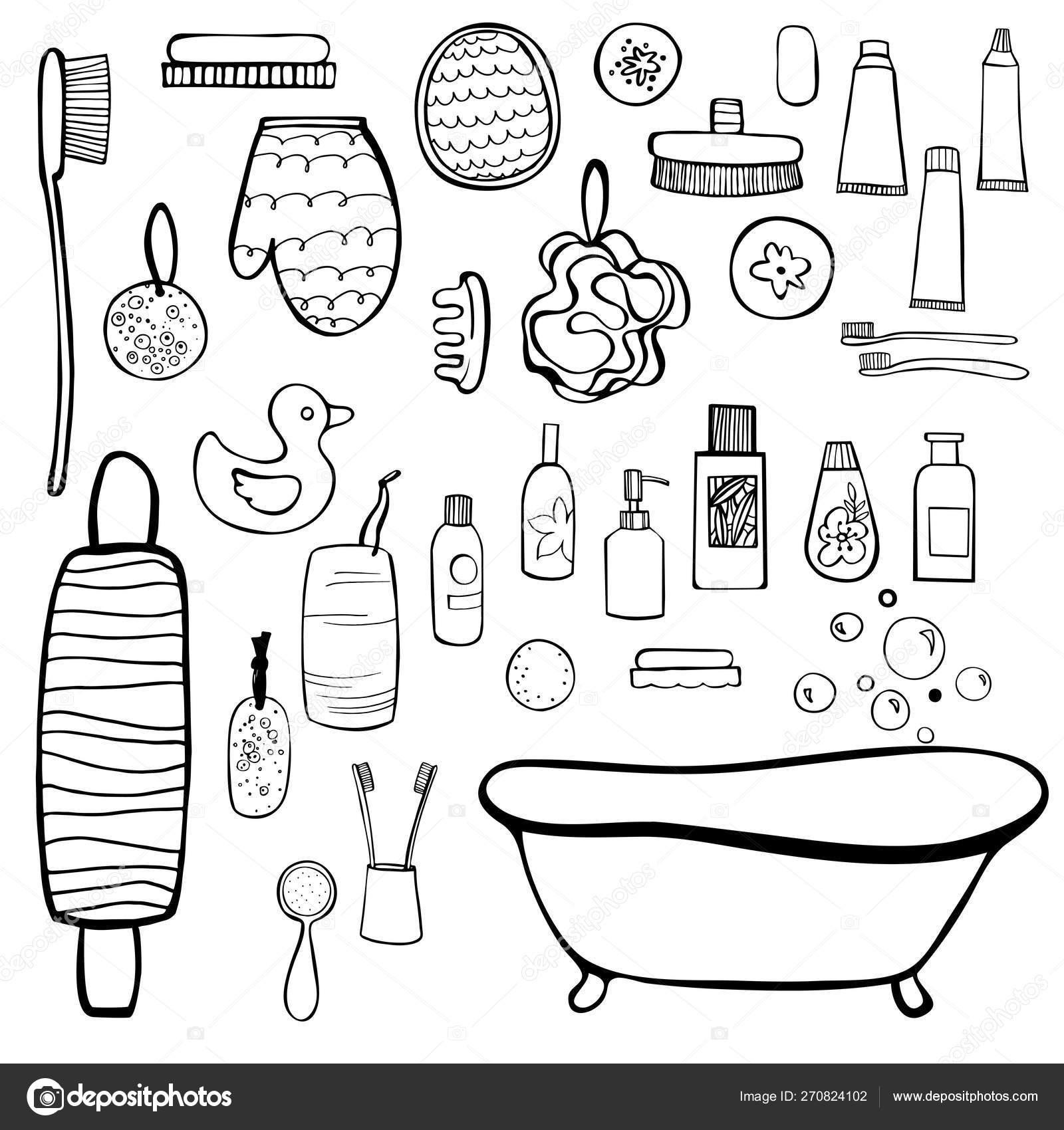 Bath Set Bathroom Items Vector Sketch Illustration Stock Vector C Rraya 270824102