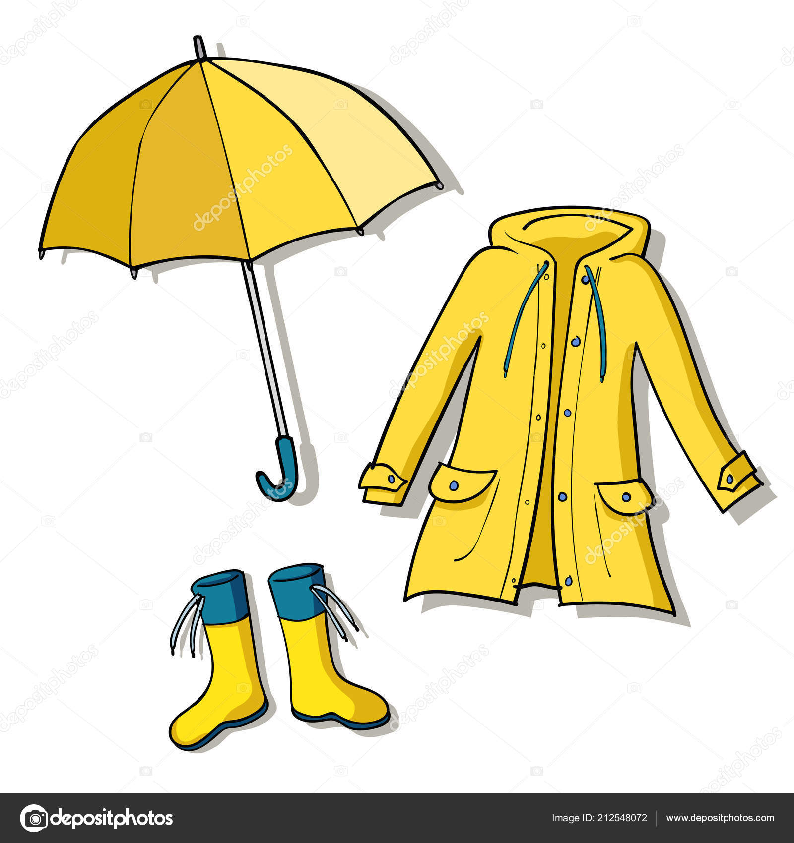 Yellow Rainy Weather Clothes Vector Sketch Illustrations