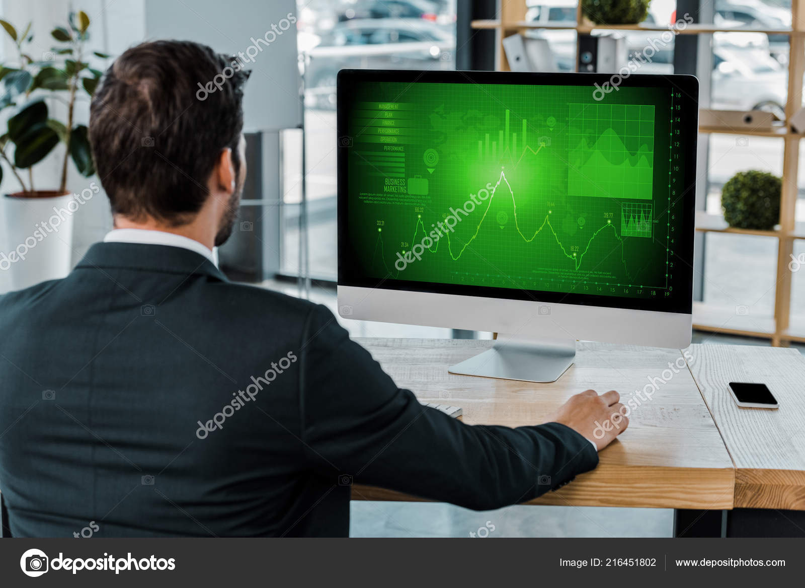 hight resolution of back view businessman workplace computer screen diagram office stock photo
