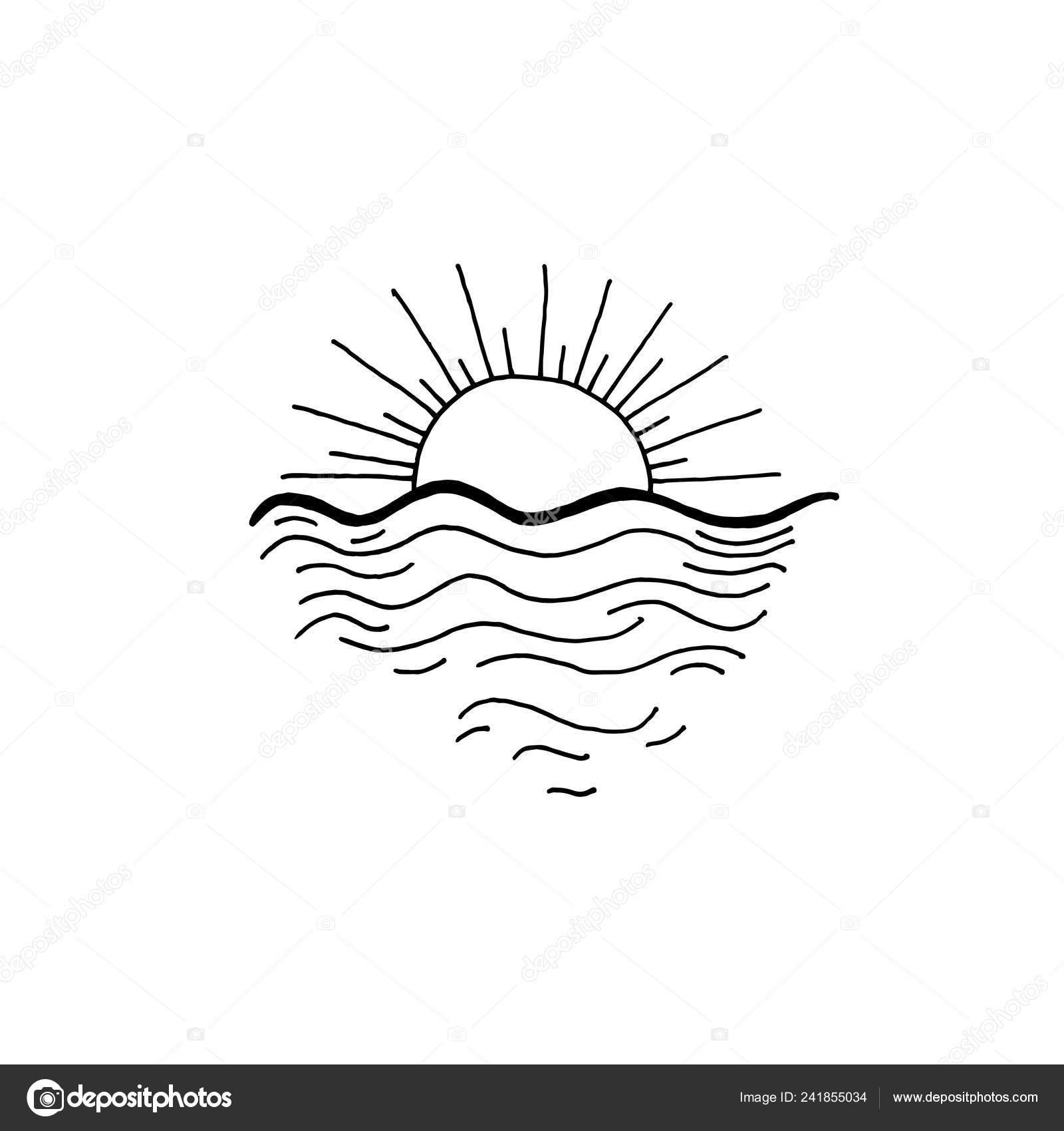 Sonnenuntergang In Der Ozean Skizze Zeichnung Symbol