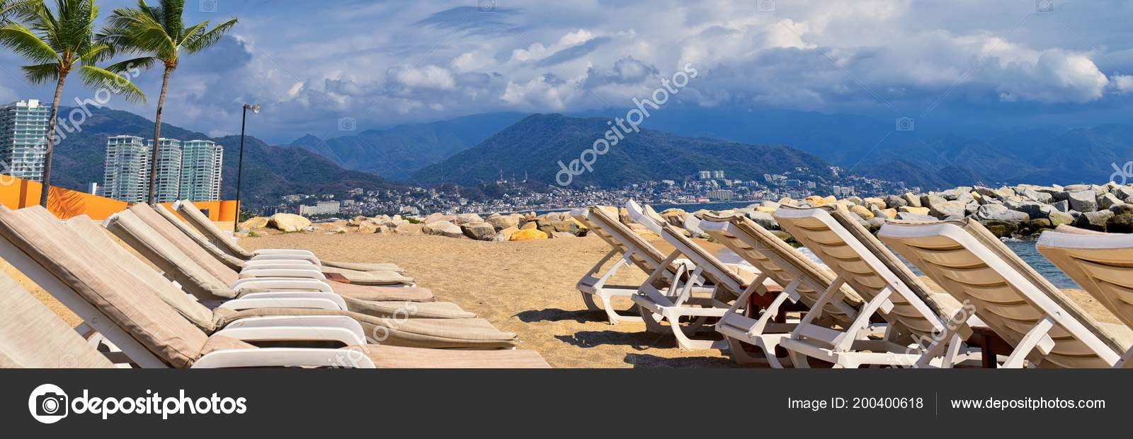 Blue Chairs Puerto Vallarta Beach City Ocean View Puerto Vallarta Mexico Beach Chairs