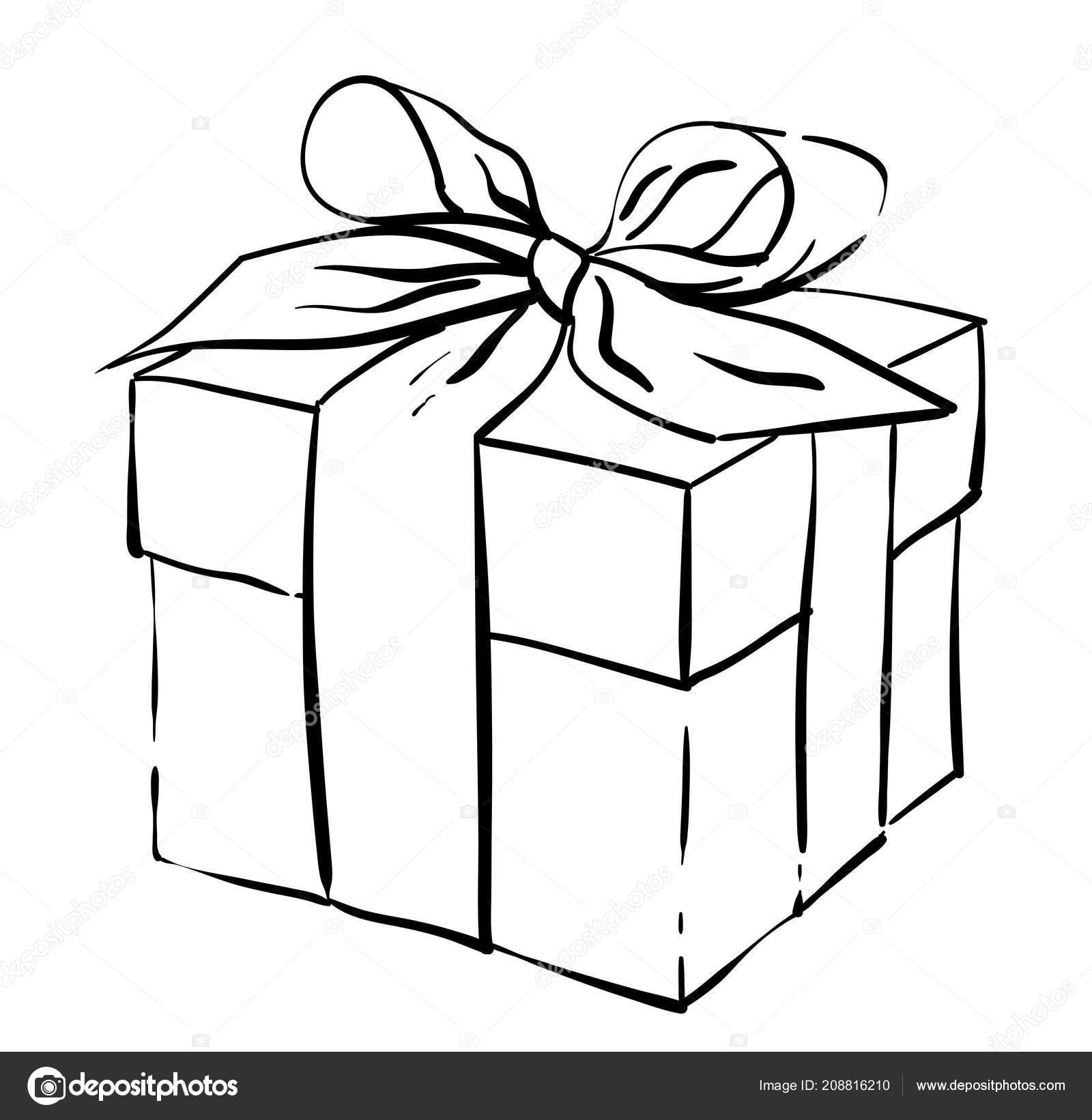 Nice T Box Holiday Vector Illustration Present Black