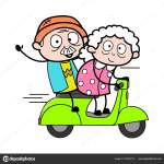 Travelling On Scooter Old Woman Cartoon Granny Vector Illustra Stock Vector C Lineartist 267696710