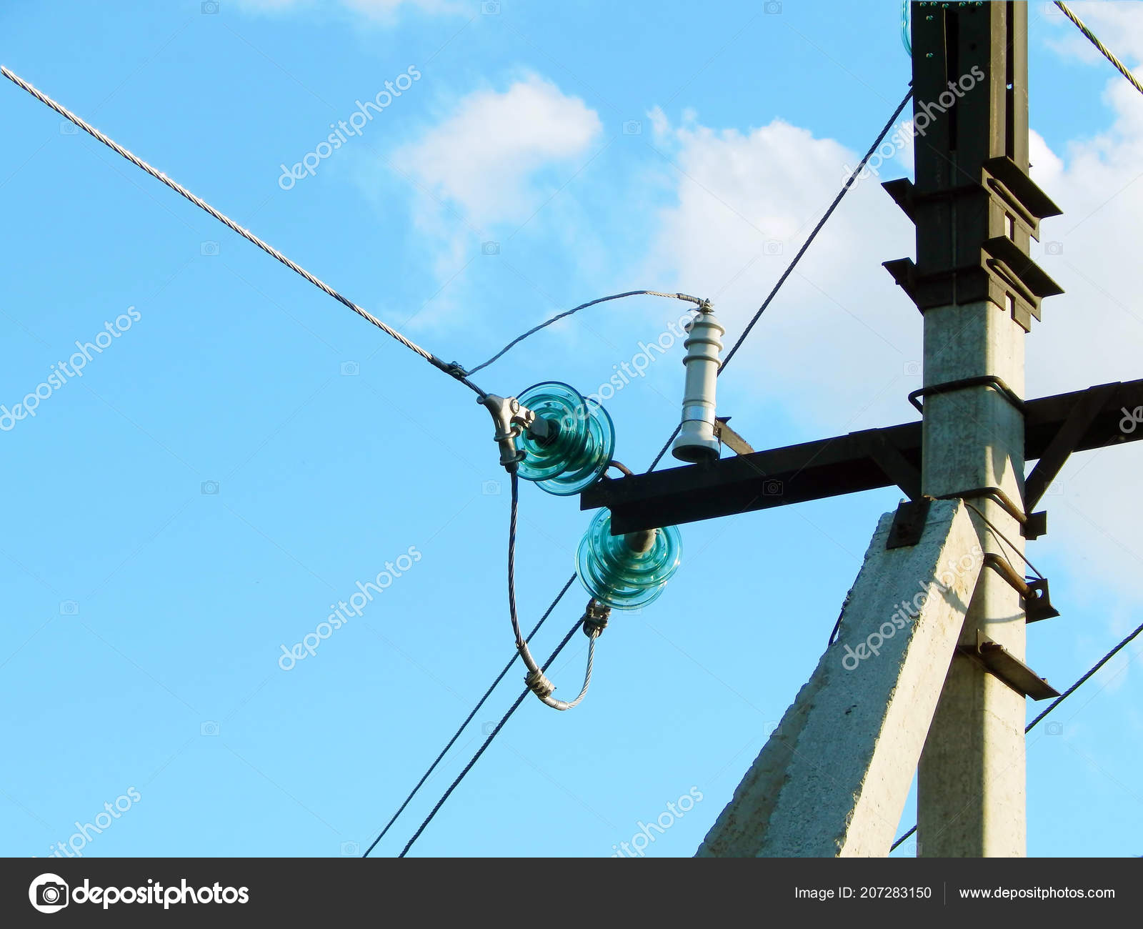 hight resolution of electric wires support blue sky stock photo