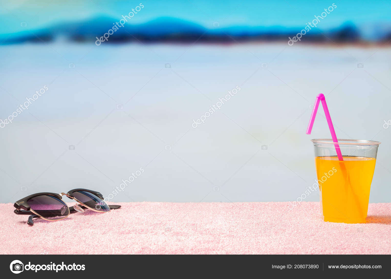 Vacation Background Free Blank Copy Space Sunglasses Yellow Cocktail Pink Stock Photo C Terovesalainen 208073890