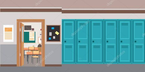 ✅ Cartoon empty School interior and open door in classroom flat vector illustration premium vector in Adobe Illustrator ai ai format Encapsulated PostScript eps eps format