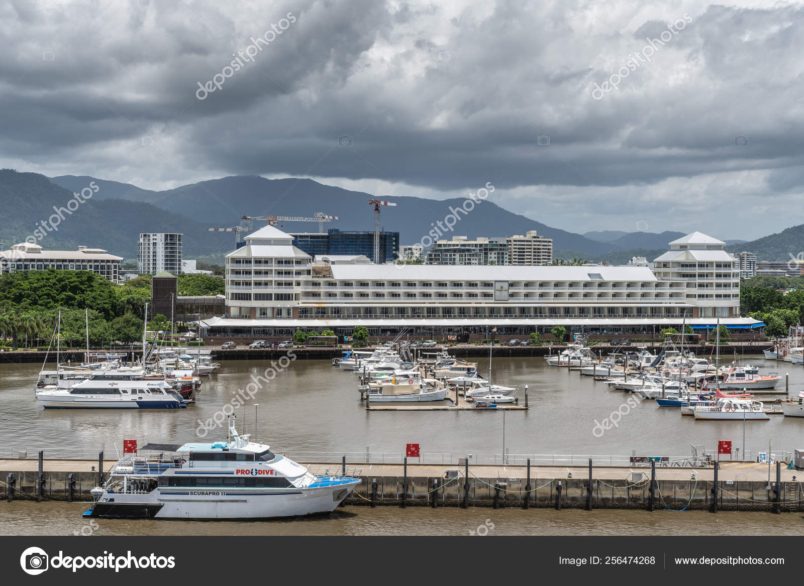 Yacht Harbor And Shangri La Hotel In Cairns Australia
