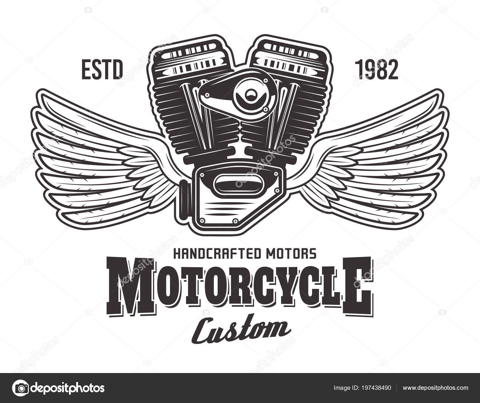 Motor De La Motocicleta Con Las Alas Y El Texto De Muestra