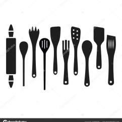 Kitchen Spatula Cow 黑色烹饪木厨房工具勺子抹刀上白色背景上下 图库矢量图像 C Miaynata 图库矢量图片