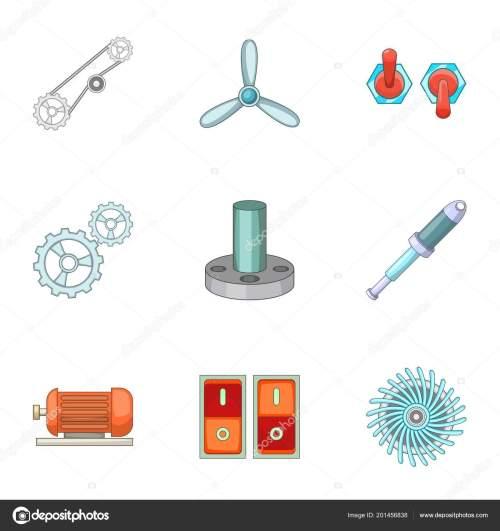small resolution of engine parts icons set cartoon style u2014 stock vector ylivdesignengine parts icons set