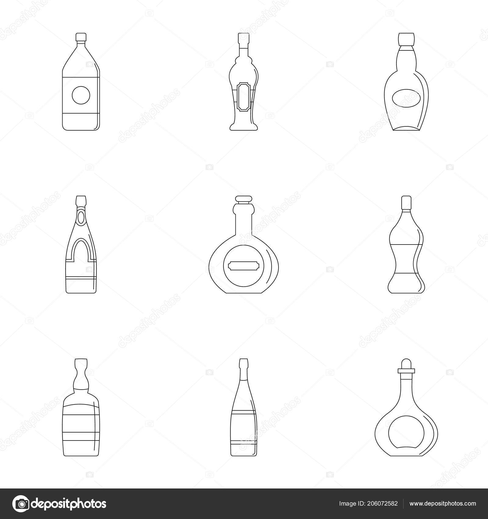 hight resolution of glass bottles icon set outline style stock vector