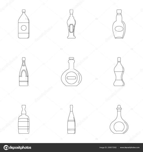small resolution of glass bottles icon set outline style stock vector