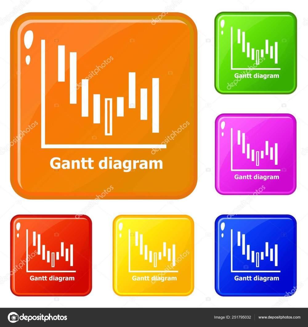 medium resolution of icone del diagramma di gantt impostare colore di vettore illustrazione stock