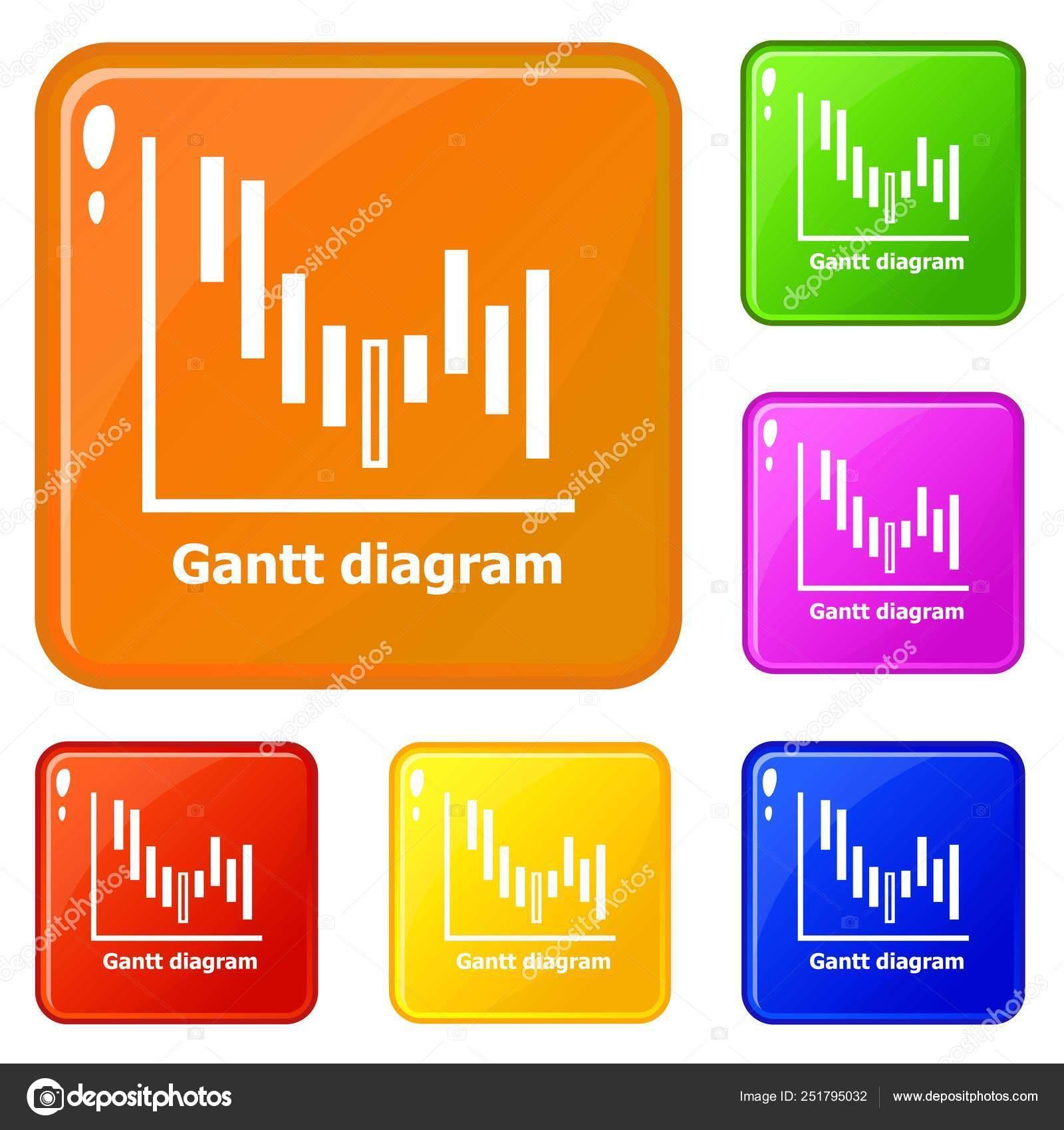 hight resolution of icone del diagramma di gantt impostare colore di vettore illustrazione stock