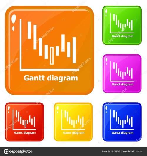 small resolution of icone del diagramma di gantt impostare colore di vettore illustrazione stock
