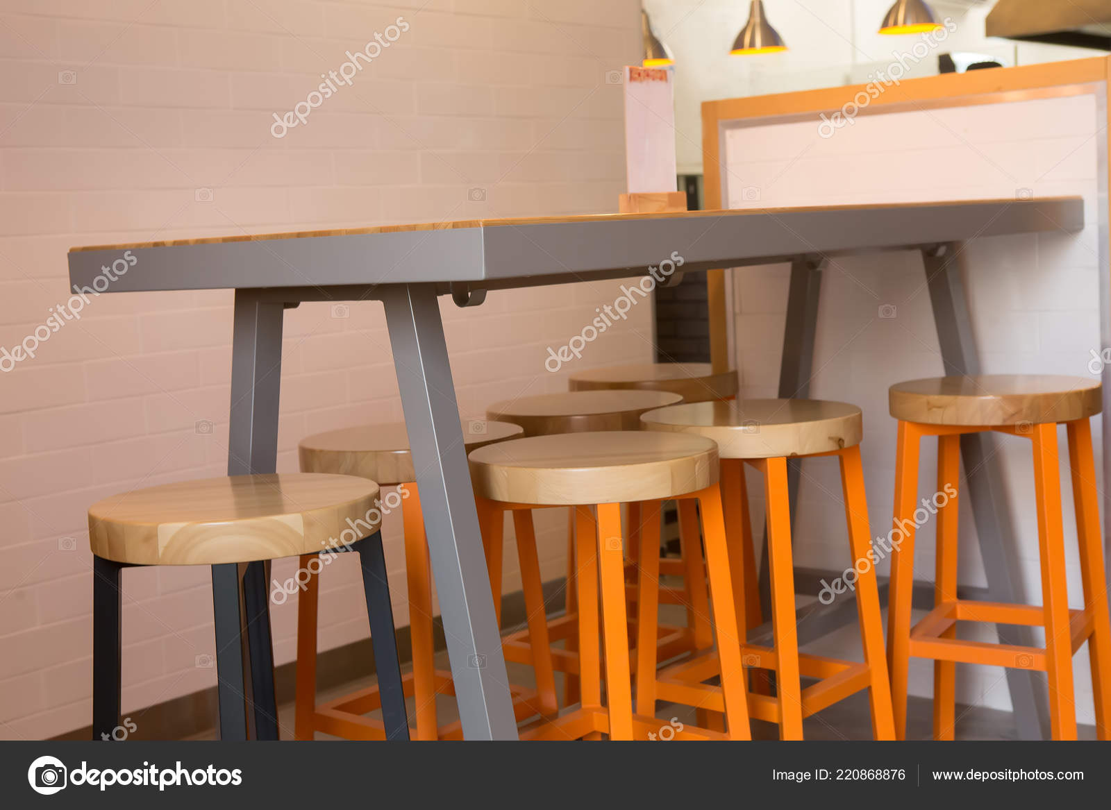 Bar Table With Chairs Bar Table Chairs Interior Cafe Stock Photo Apriori 220868876