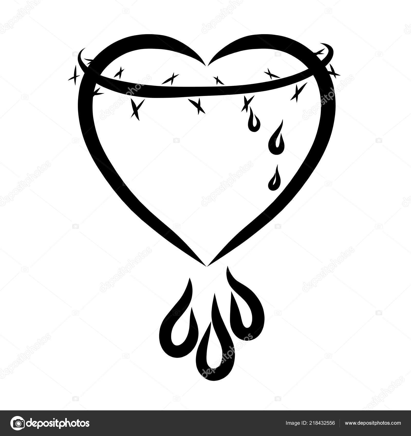 Heart Crown Thorns Drops Sacrifice Christ Love