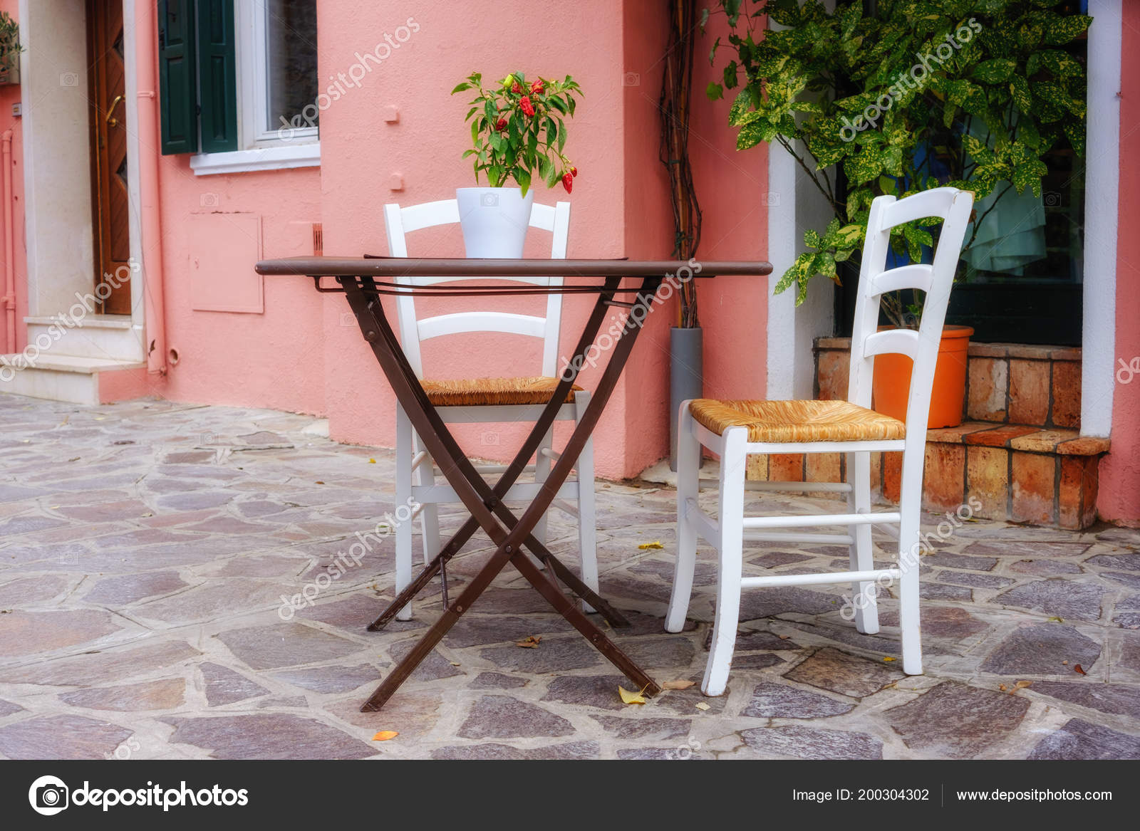 parisian cafe table and chairs chair covers for rent winnipeg street view terrace empty tables paris france stock photo