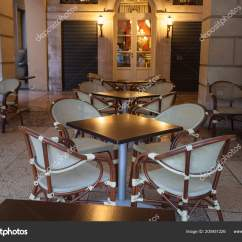 Parisian Cafe Table And Chairs Arm Chair Covers At Amazon Street View Terrace Empty Tables Paris France Stock Photo