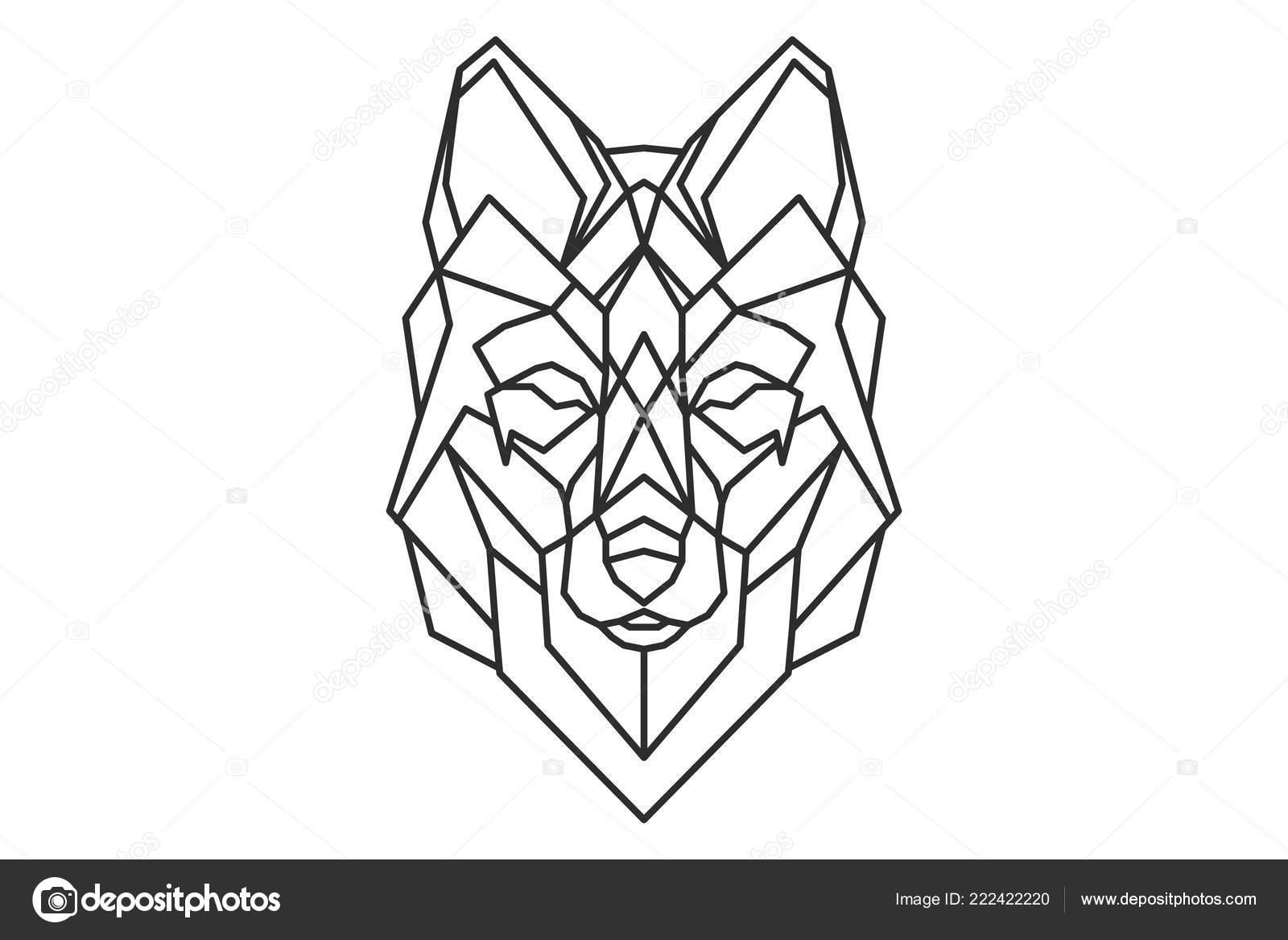 Tatuaje Lobo Geométrica Logo Boceto Vector De Stock Ratomich