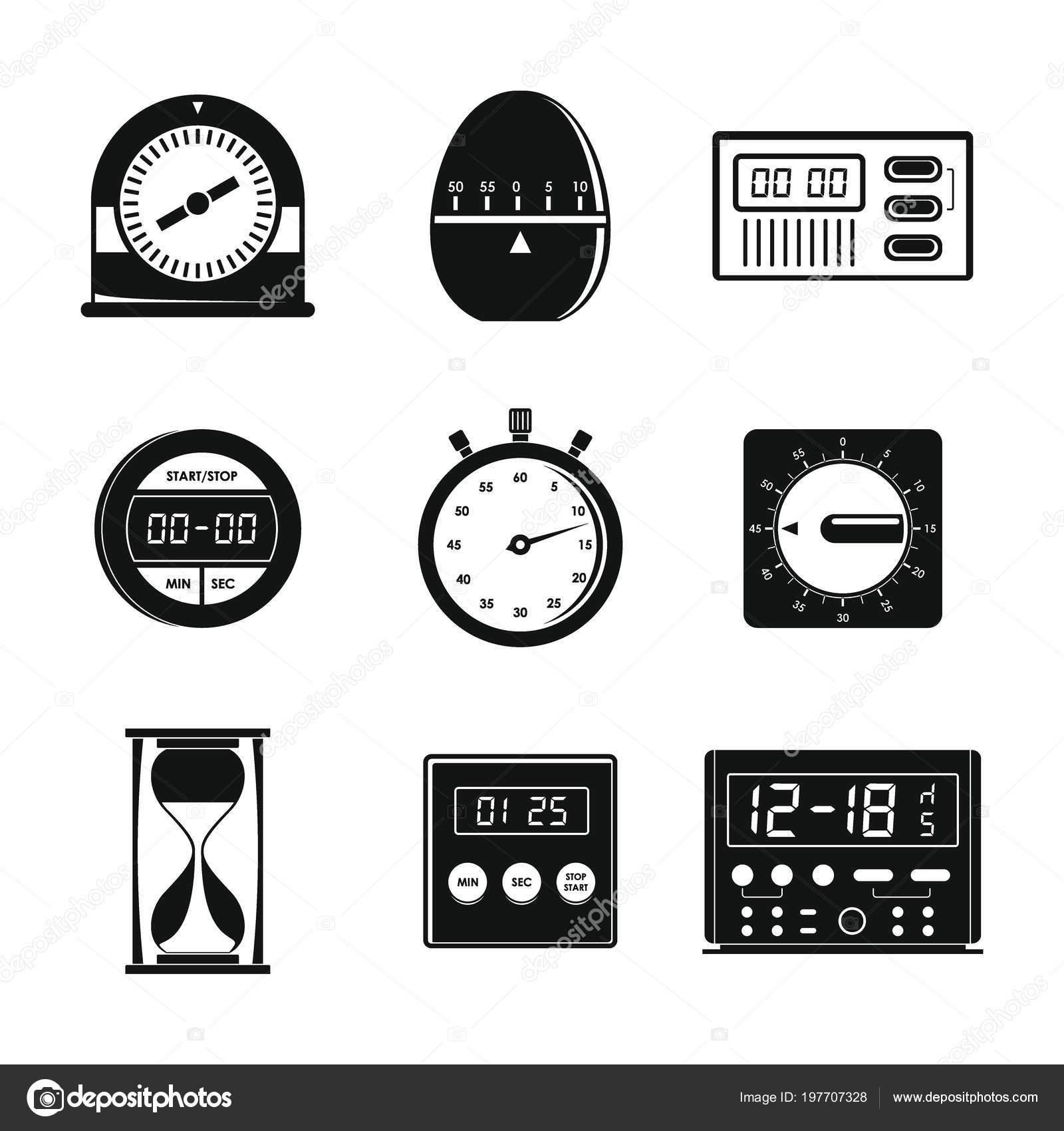 kitchen timer cabinet pull outs 厨房定时器图标设置 简单风格 图库矢量图像 c anatolir 197707328 图库矢量图片