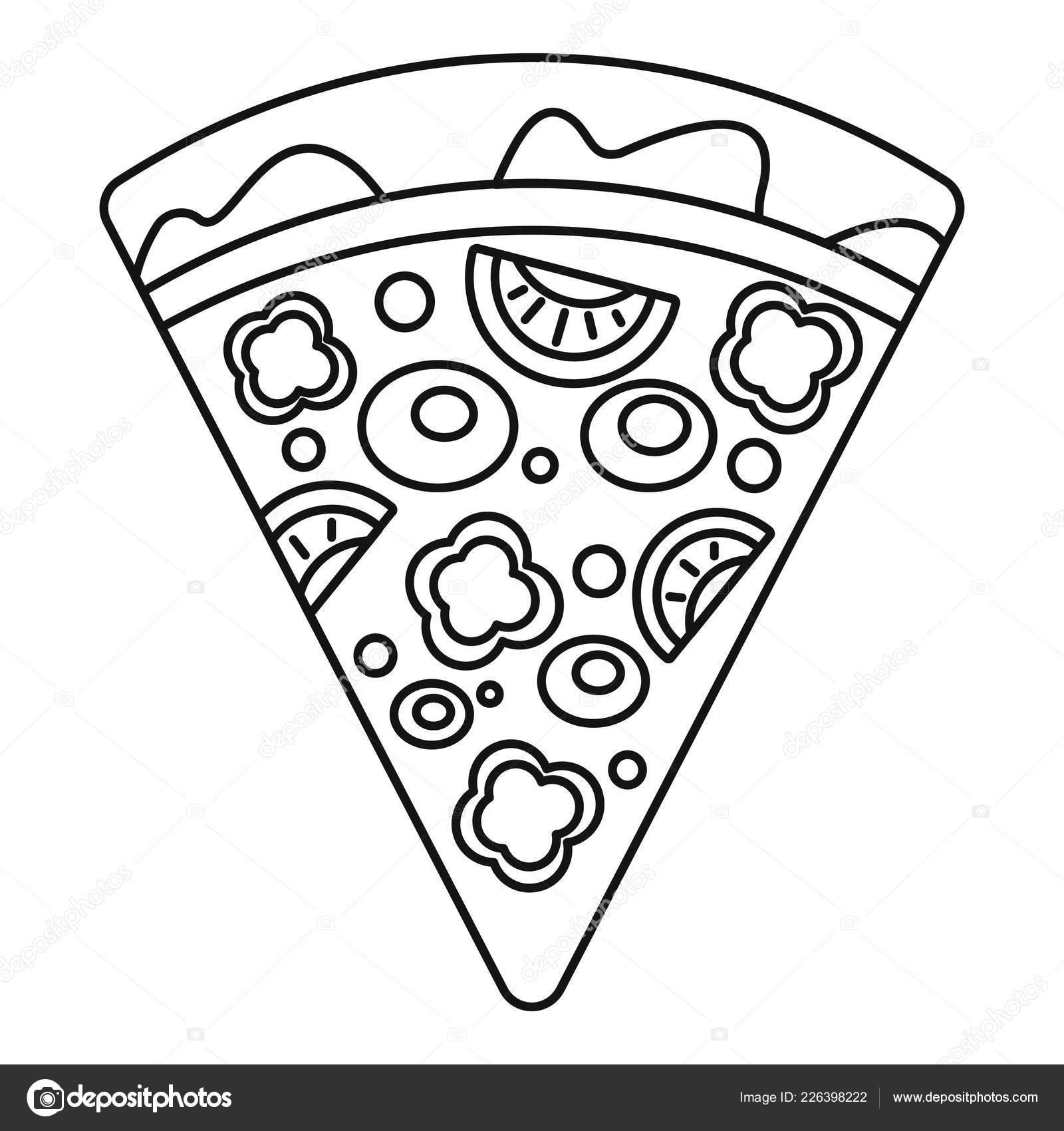 Slice Pfeffer Pizza Symbol Umriss Stil